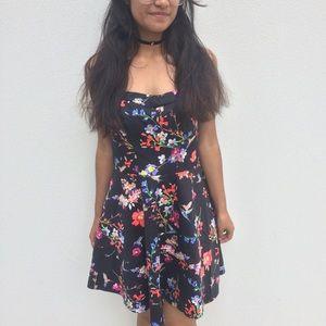 Express black floral hummingbird strapless dress